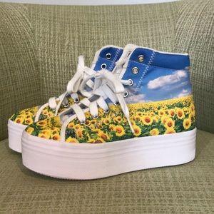 Jeffrey Campbell Platform Sneakers Sunflowers